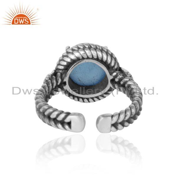 Exporter of Twisted designer bold blue chacedony ring in oxidized silver 925