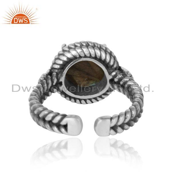 Exporter of Twisted designer bold labradorite ring in oxidized silver 925