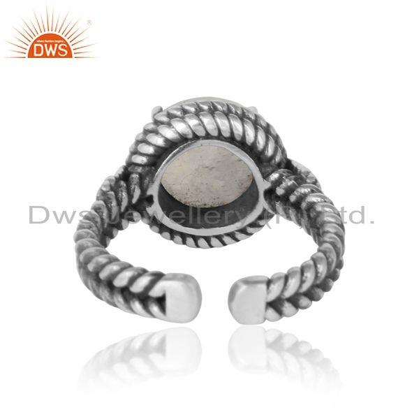 Exporter of Twisted designer bold rainbow moonstone ring in oxidized silver 925