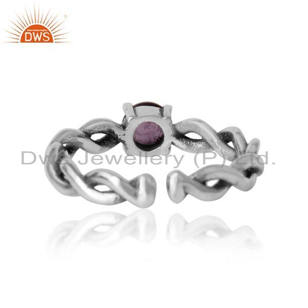 Exporter of Dainty twisted ring in oxidized silver 925 with natural amethyst