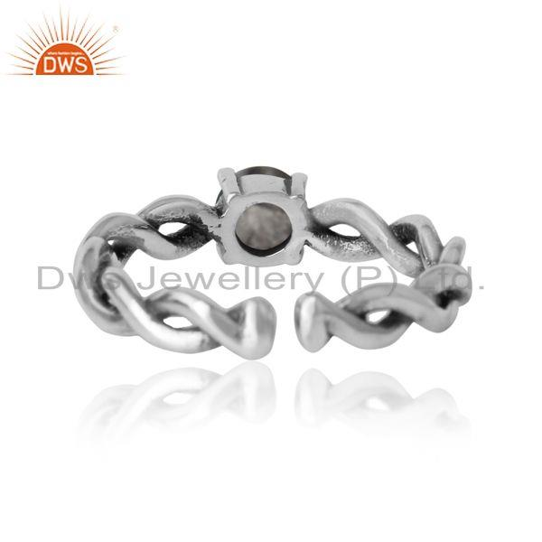 Exporter of Dainty twisted ring in oxidized silver 925 with black rutile