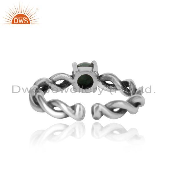 Exporter of Dainty twisted ring in oxidized silver 925 with natural emerald