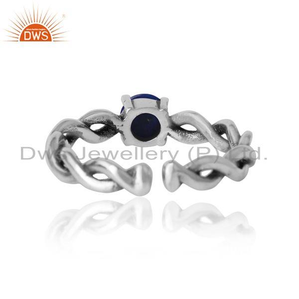 Exporter of Dainty twisted ring in oxidized silver 925 with natural lapis