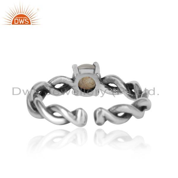 Exporter of Designer dainty twisted ring in oxidized silver 925 with pearl