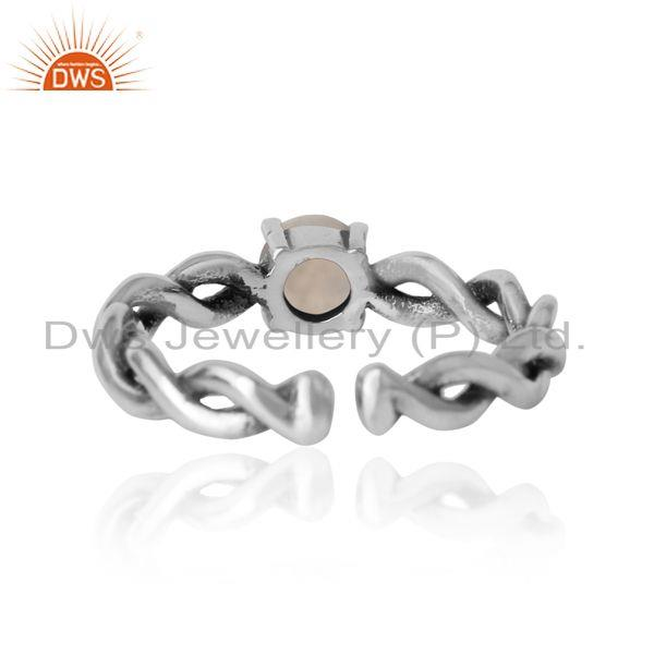 Exporter of Dainty twisted ring in oxidized silver 925 with rainbow moonstone