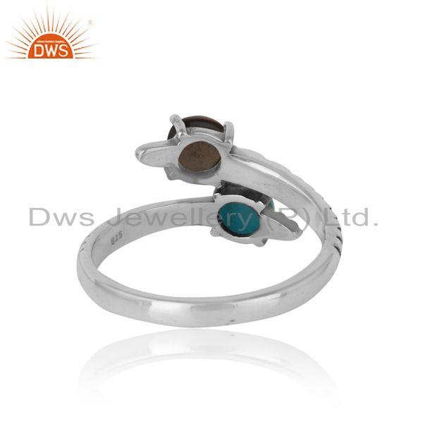 Exporter of Handmade bypass ring in oxidized silver arizona turquoise smoky