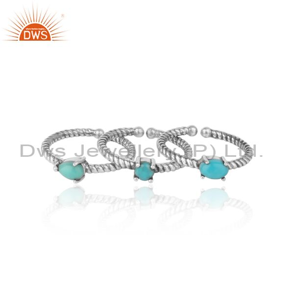 Exporter of Twisted ring set of 3 in oxidized silver and arizona turquoise