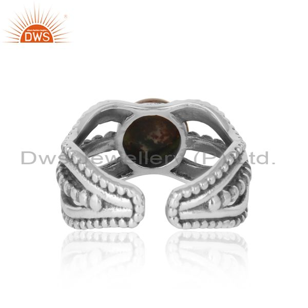 Exporter of Bold handmade silver ring in oxidized finish with blood stone