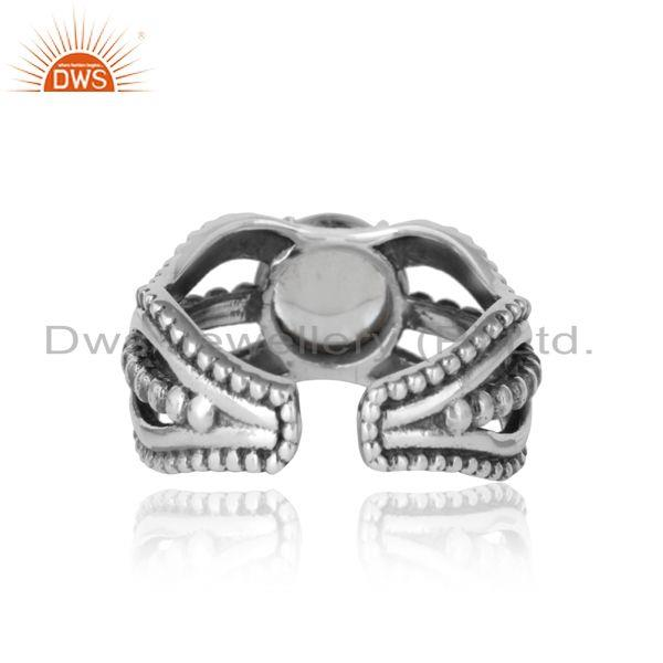Exporter of Bold handmade silver ring in oxidized finish with crystal quartz