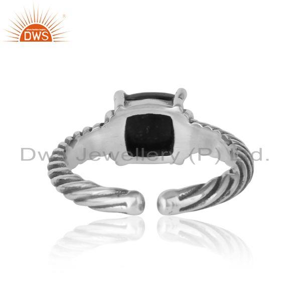 Exporter of Handcrafted twisted bold ring in oxidized silver 925 blood stone
