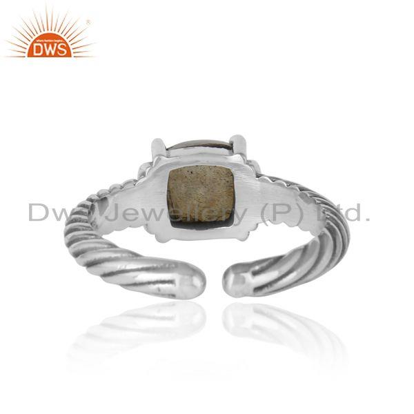 Exporter of Handcrafted twisted bold ring in oxidized silver and labradorite