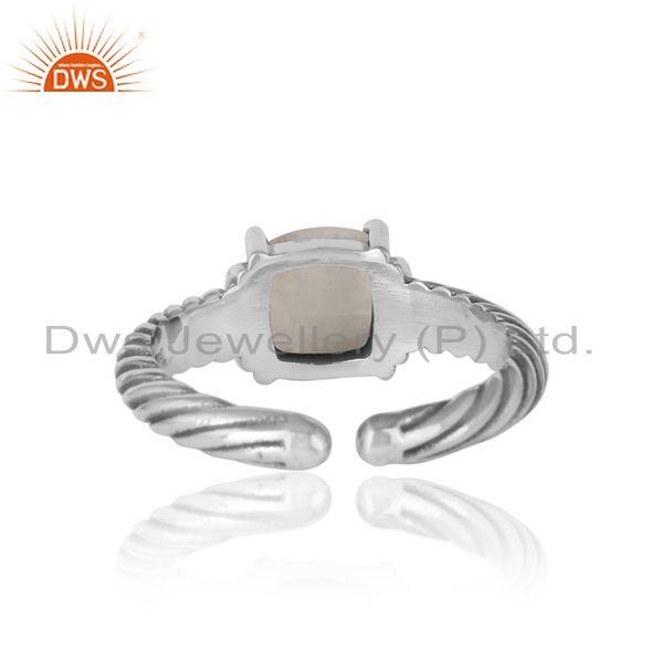 Exporter of Handcrafted twisted bold ring in oxidized silver rainbow moonstone