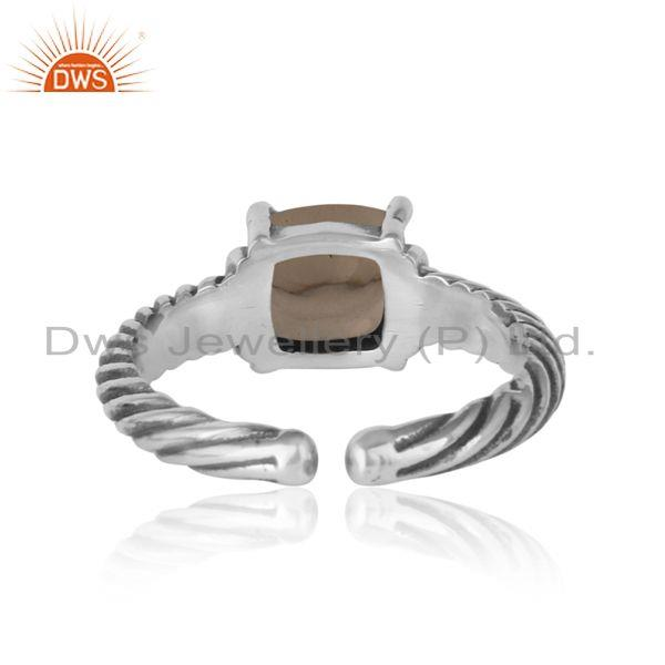 Exporter of Handcrafted twisted bold ring in oxidized silver 925 and smoky