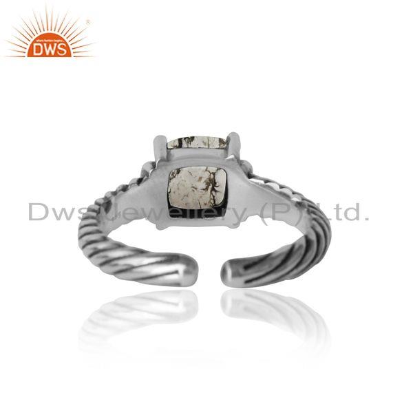 Exporter of Handcrafted twisted bold ring in oxidized silver white howlite