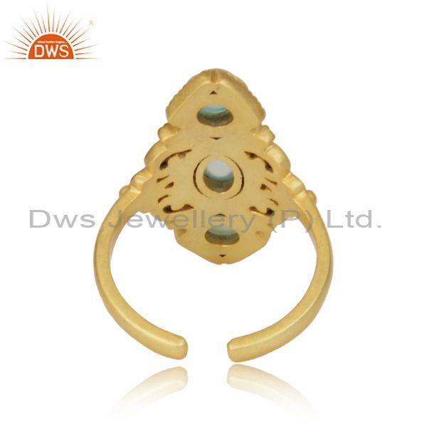 Designer of Bohemian Ring in Yellow Gold on Silver 925 with Aqua Chalcedony
