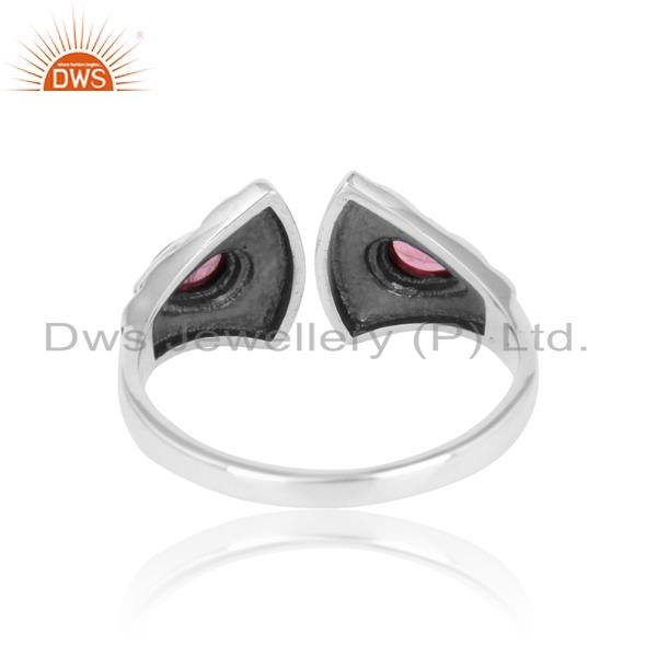 Exporter of Textured ring in oxidized silver adorn with pink tourmaline
