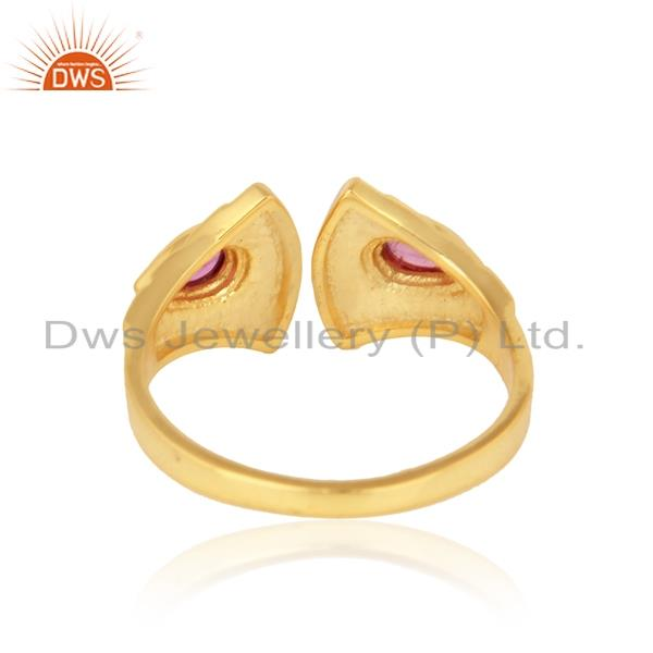 Exporter of Textured ring in yellow gold on silver adorn with pink tourmaline
