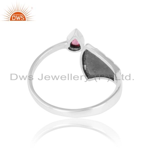 Exporter of Dainty textured ring in oxidized silver with pink tourmaline