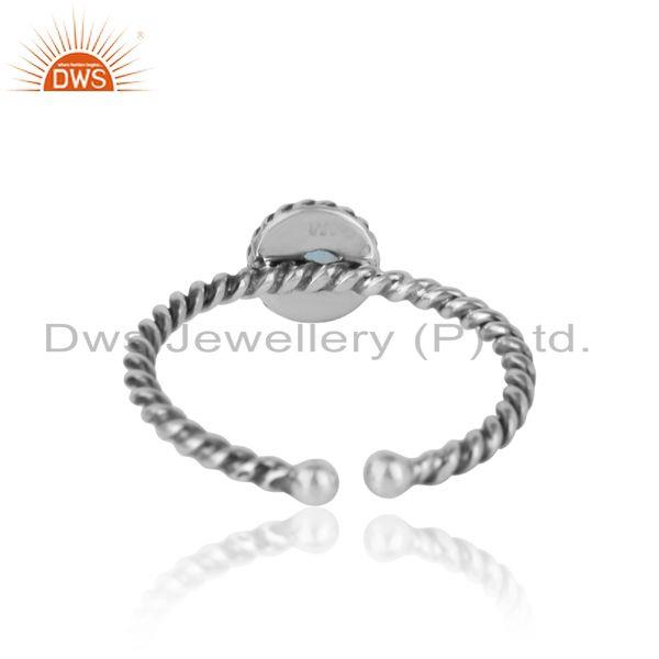 Exporter of Blue topaz twisted handmade designer ring in oxidized silver 925