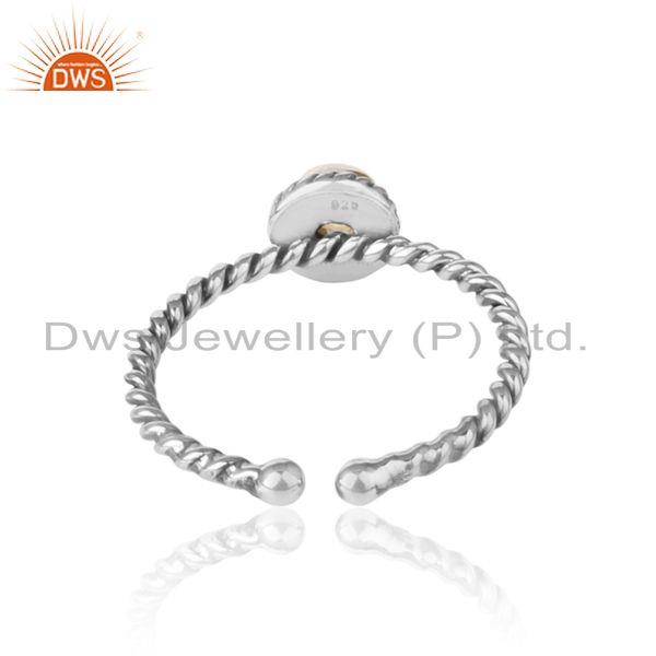 Exporter of Citrine twisted handmade designer ring in oxidized silver 925
