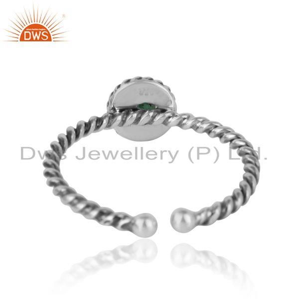 Exporter of Emerald twisted handmade designer ring in oxidized silver 925
