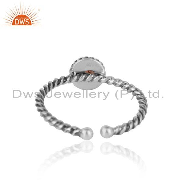 Exporter of Ethiopian opal twisted handmade designer ring in oxidized silver