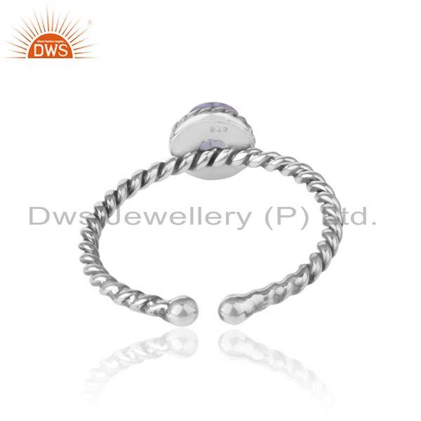 Exporter of Iolite twisted handmade designer ring in oxidized silver 925