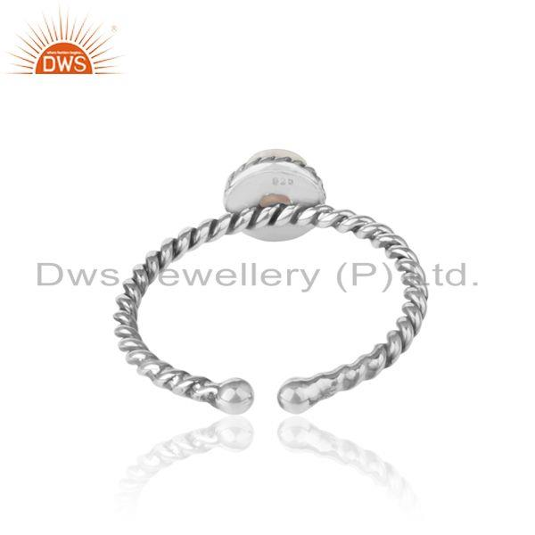 Exporter of Labradorite twisted handmade designer ring in oxidized silver 925