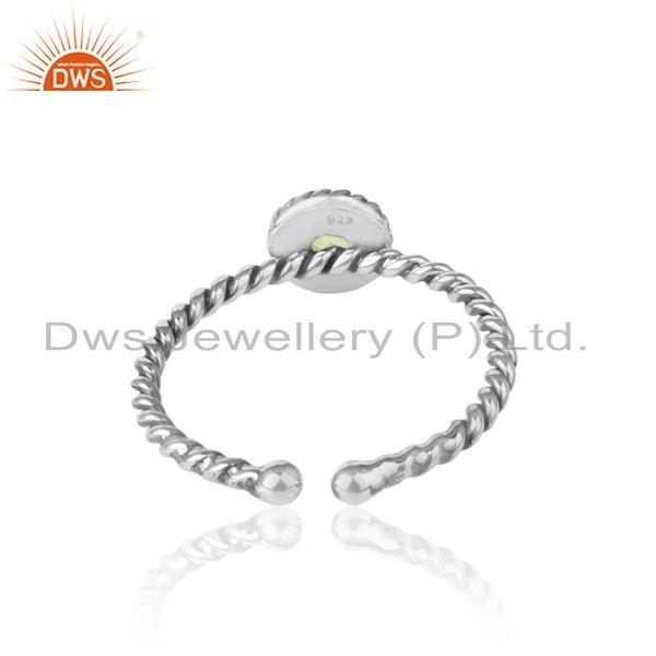Exporter of Peridot twisted handmade designer ring in oxidized silver 925