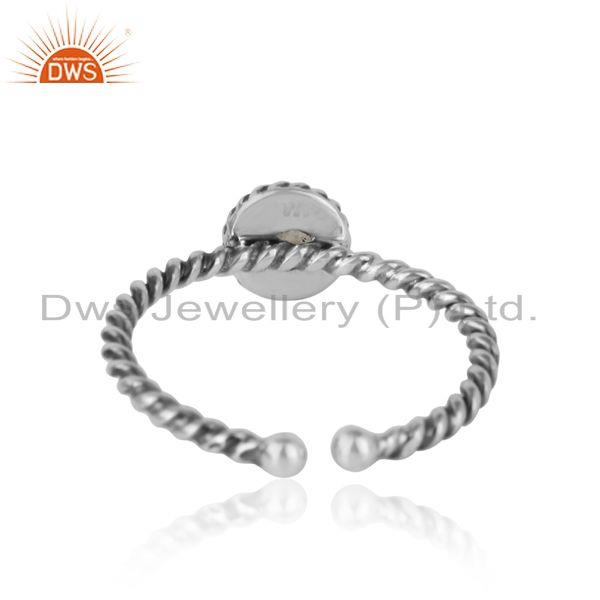 Exporter of Rainbow moonstone twisted handmade designer ring in oxidized silver