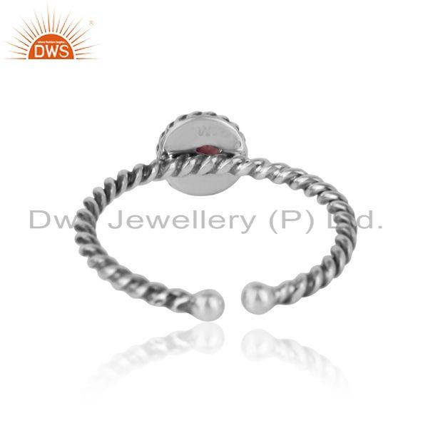 Exporter of Pink tourmaline twisted handmade designer ring in oxidized silver