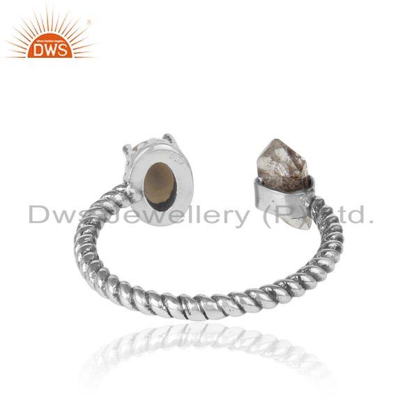 Exporter of Designer herkimer diamond ring in solid silver 925 with pearl