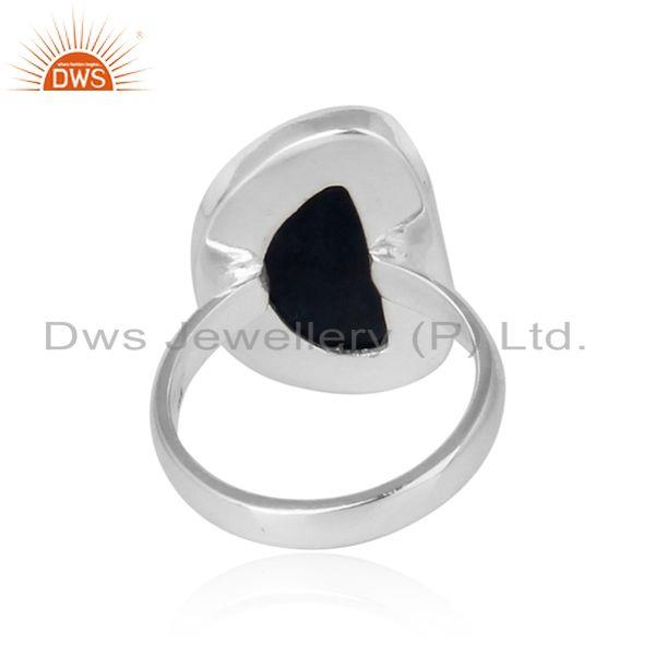 Exporter of Handmade organic shape blue sapphire ring in solid silver 925