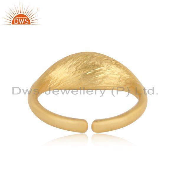 Exporter of Designer seedpod dainty ring in yellow gold on silver and pearl