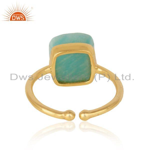 Exporter of Handmade solitaire ring in yellow gold on silver 925 and amazonite