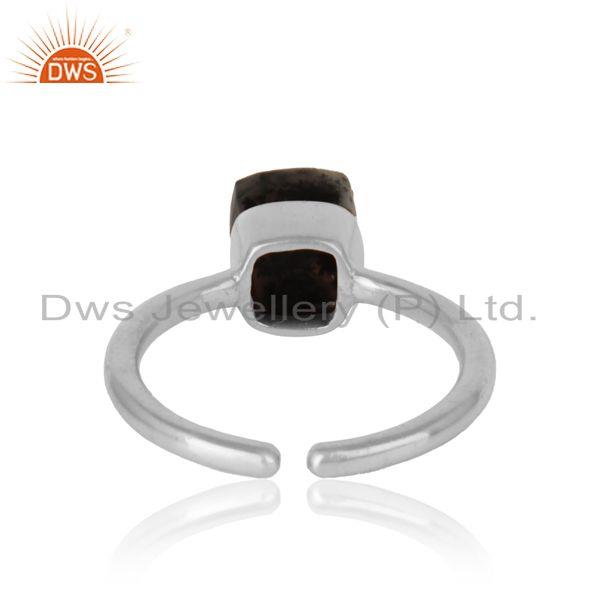 Exporter of Handmade solitaire ring in white rhodium on silver and dendrite