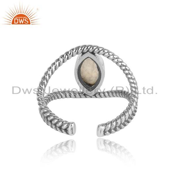 Exporter of Twisted designer rainbow moonstone ring in oxidized silver 925