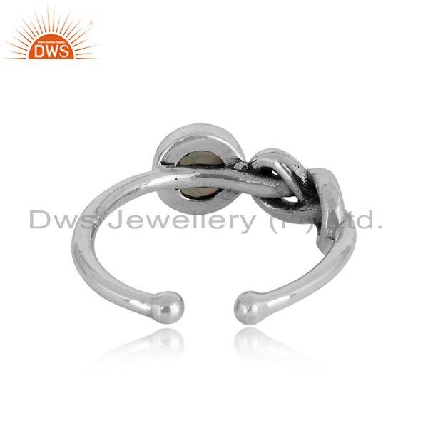 Exporter of Designer knot ring in oxidized silver 925 with ethiopial opal