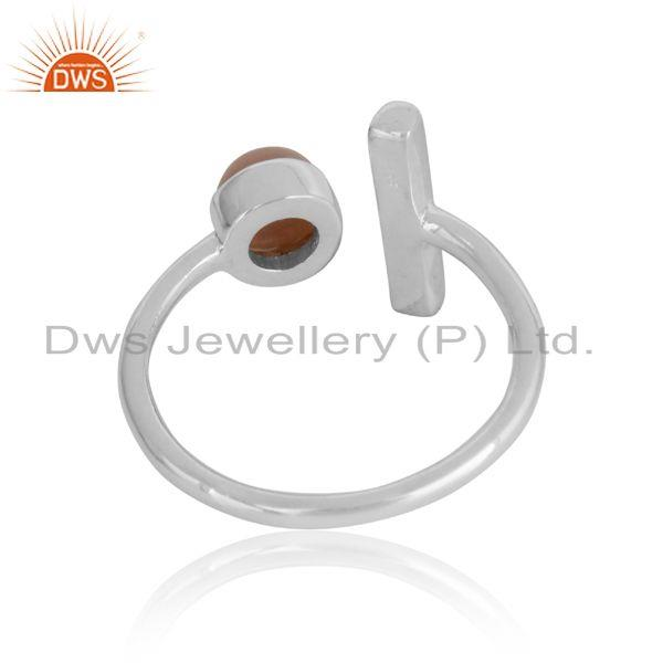 Exporter of Designer bar gemstone ring in silver 925 and pink opal
