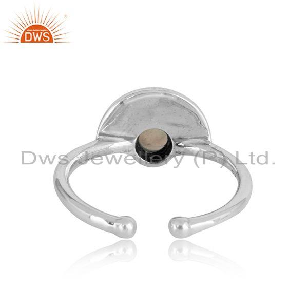 Exporter of Half moon designer ethiopian opal ring in oxidized silver 925