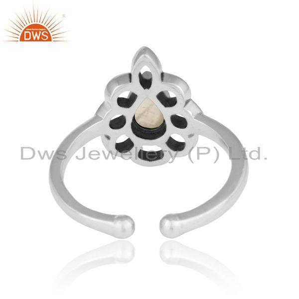 Exporter of Designer floral ring in oxidized silver 925 and rainbow moonstone