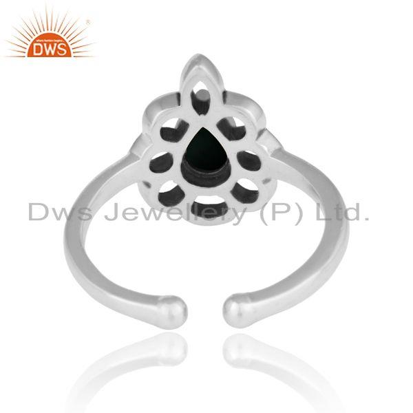 Exporter of Designer floral ring in oxidized silver 925 and black onyx