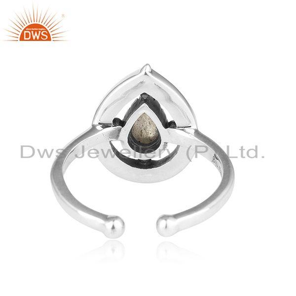 Exporter of Designer dainty oxidized silver 925 ring with labradorite
