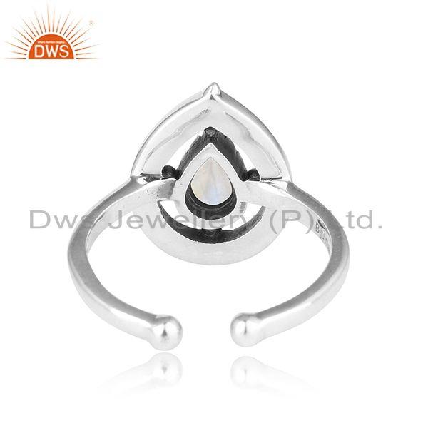 Exporter of Designer dainty oxidized silver 925 ring with rainbow moonstone