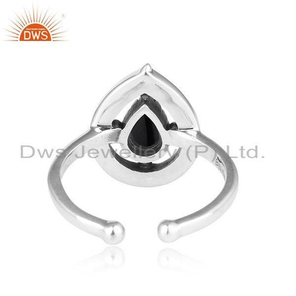 Exporter of Designer dainty oxidized silver 925 ring with black onyx