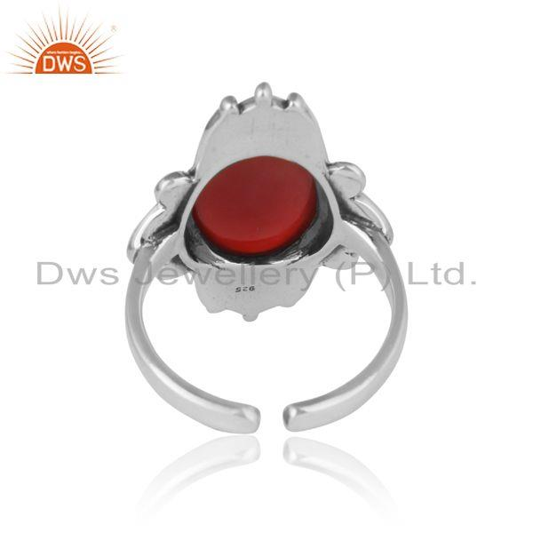 Exporter of Handmade bold textured ring in oxidized silver with red onyx