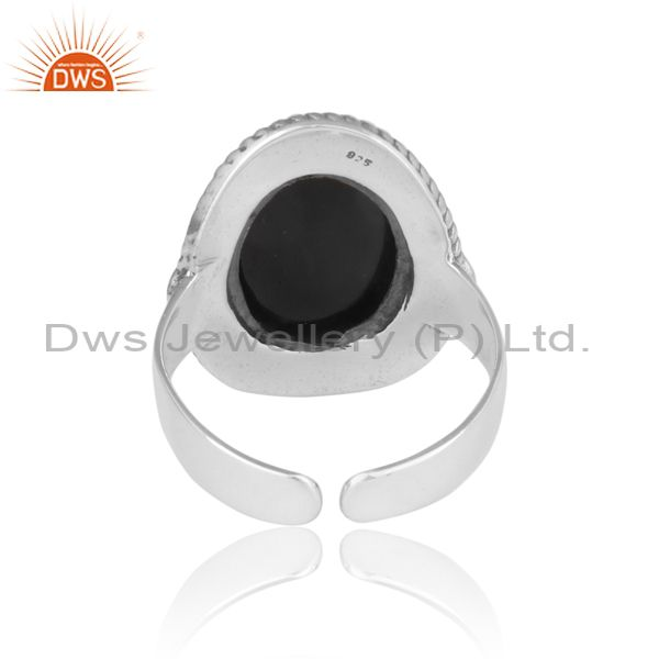 Exporter of Handcrafted twisted designer black onyx ring in oxidized silver