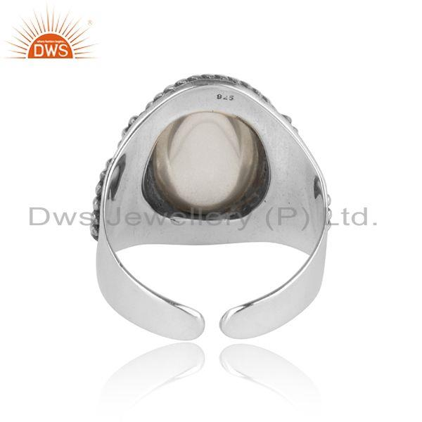 Exporter of Bold designer ring in oxidized silver 925 with crystal quartz