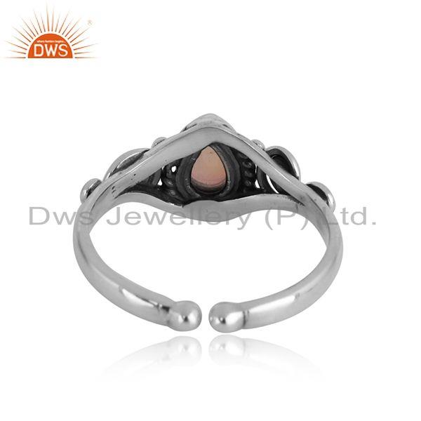 Exporter of Handcrafted dainty textured ethiopian opal ring in oxidized silver
