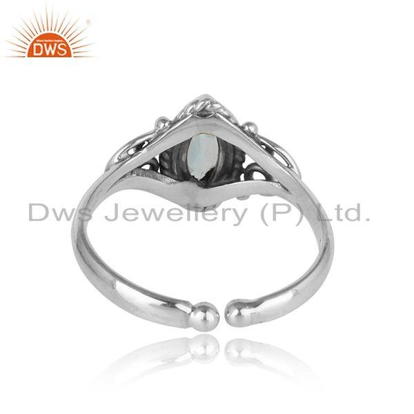 Exporter of Exquisite textured dainty blue topaz ring in oxidized silver 925